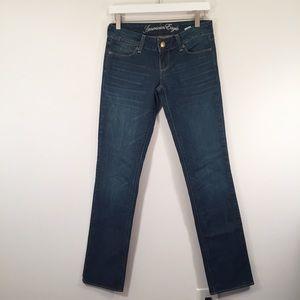 AMERICAN EAGLE Dark Wash Denim Straight Leg Jeans